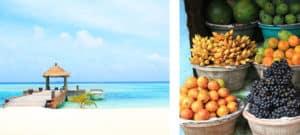 Image composée de deux images, d'un côté la page de l'autre des fruits frais
