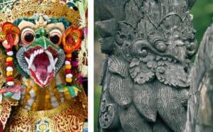 Image composée de deux images, d'une côté un masque et de l'autre une statue.