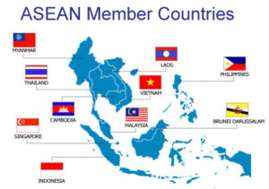 Carte représentant les nations d'Asie du Sud-Est avec les drapeaux et les noms