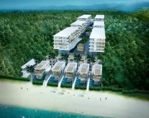 Une résidence en construction près de Phuket, en bord de plage, au cœur d'une végétation tropicale.
