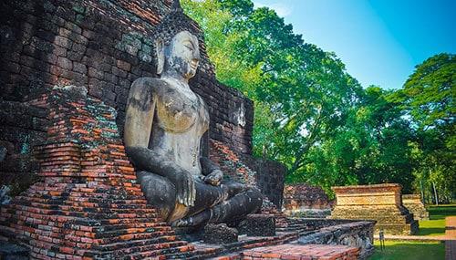 Façade de temple à Sukhothai