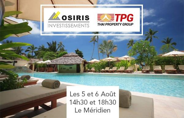 Dates des conférences d'Osiris Investissements et TPG