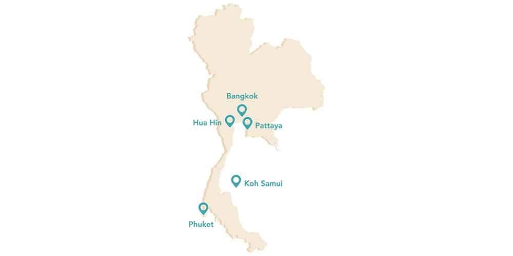 carte de la Thaïlande avec 5 marqueurs pour indiquer des villes