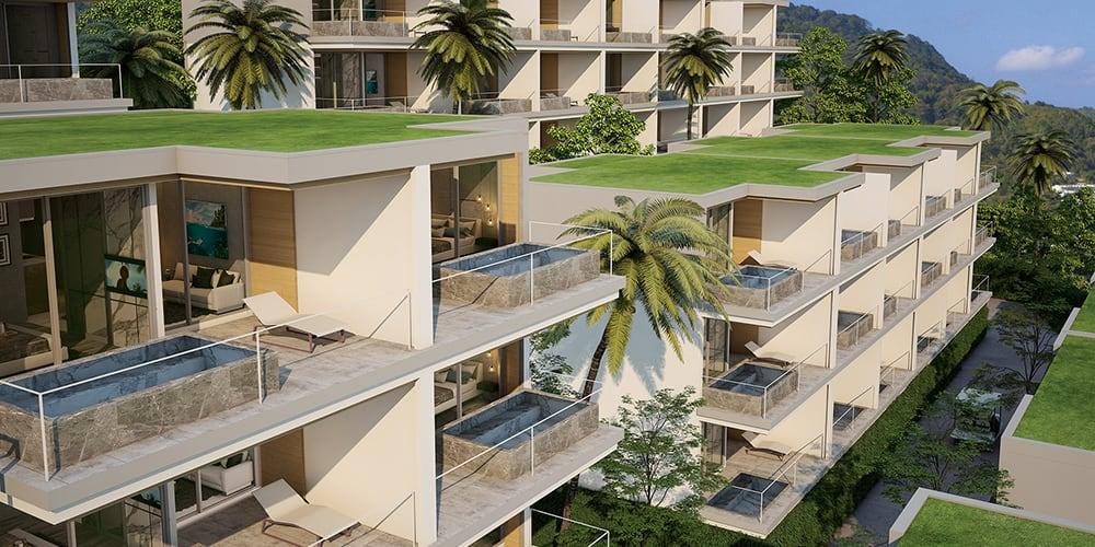 Résidence avec piscines privées sur chaque balcon des appartements