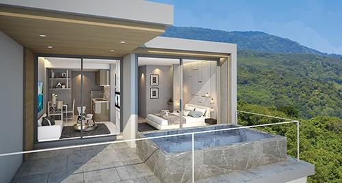 Appartement avec piscine privative et vue sur une végétation luxuriante