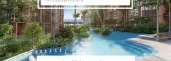 Belle piscine turquoise avec transat, avec vue sur une végétation luxuriante
